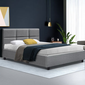 King Single Size Bed Frame Base Mattress Fabric Wooden Grey