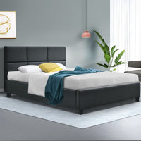Single Size Bed Frame Base Fabric Headboard Wooden Mattress