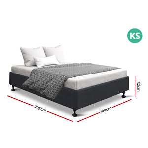 King Single Size Bed Base Frame Mattress Platform Fabric Wooden Charcoal TOMI