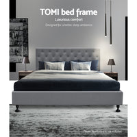 Queen Size Fabric and Wood Bed Frame - Grey