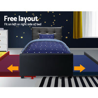 King Single Size Trundle Bed Frame  Headboard - Black