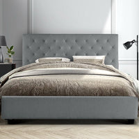 King Size Bed Frame Base Mattress Platform Fabric Wooden Grey VAN