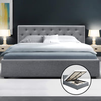 Queen Size Gas Lift Bed Frame Base Mattress Platform Fabric Wooden Grey
