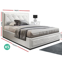 King Single Size Gas Lift Bed Frame Base With Storage Mattress White Leather