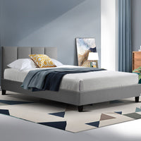 Bed Frame Single Size Mattress Base Platform Fabric Wooden Grey