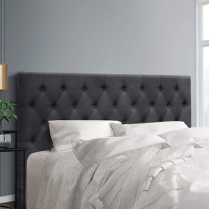 King Size Bed Head Headboard Bedhead Fabric Frame Base CAPPI Charcoal