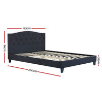 Bed Frame Double Size Base Mattress Platform Fabric Wooden Charcoal LARS