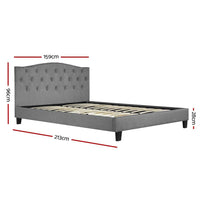 Bed Frame Queen Size Base Mattress Platform Fabric Wooden Grey LARS