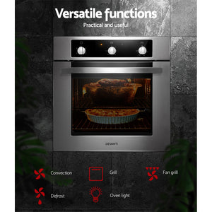 60cm Electric Built in Wall Oven Convection Grill Stove Stainless Steel