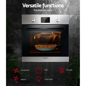 70L Electric Built in Wall Oven Stainless Steel Fan Forced Convection