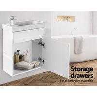 400mm Bathroom Vanity Basin Cabinet Sink Storage Wall Hung Ceramic Basins Wall Mounted White