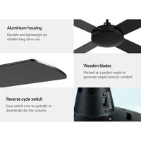 52 inch 1300mm Ceiling Fan Wall Control 4 Wooden Blades Cooling Fans Black