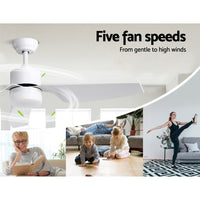 "52"" DC Motor Ceiling Fan with LED Light with Remote 8H Timer Reverse Mode 5 Speeds"