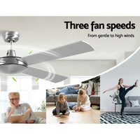 52 inch 1300mm Ceiling Fan 4 Wooden Blades with Remote Reversible Fans Silver