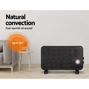 2000W Electric Metal Panel Heater Convection Heating Timer Portable Black