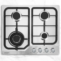 Gas Cooktop 60cm Gas Stove Cooker 4 Burner Cook Top Konbs NG LPG Steel