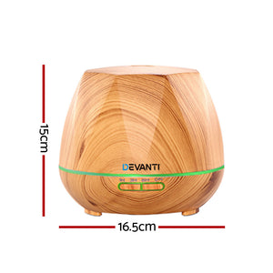 Ultrasonic Aroma Aromatherapy Diffuser Oil Electric LED Air Humidifier 400ml Light Wood