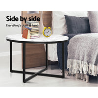 Coffee Table Marble Effect Side Tables Bedside Round Black Metal 70X70CM