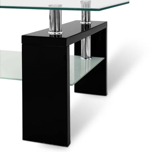 2 Tier Glass Coffee Table - Black