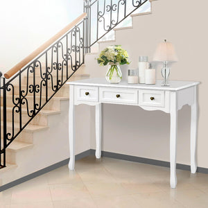 Hall Console Table Hallway Side Dressing Entry Wooden French Drawer White