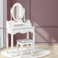 4 Drawer Dressing Table with Mirror - White
