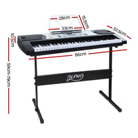 61 Keys Electronic Piano Keyboard LED Electric Silver with Music Stand for Beginner