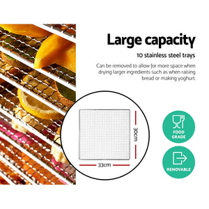 Food Dehydrators Stainless Steel Jerky Dehydrator Fruit Dryer 10 Trays