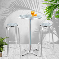 Outdoor Bistro Set Bar Table Stools Adjustable Aluminium Cafe 3PC Round