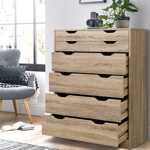 6 Chest of Drawers  Dresser Table Storage Cabinet Oak Bedroom