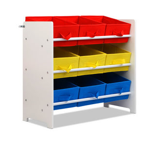 3-Tier 9 Bins Kids Toy Box Organiser Storage Rack Cabinet Wooden Bookcase