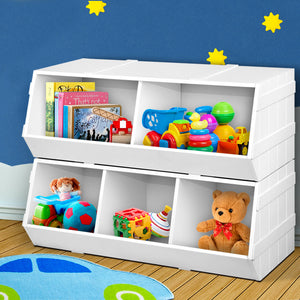 Kids Toy Box Bookshelf Storage Cabinet Stackable Bookcase Shelf Organiser