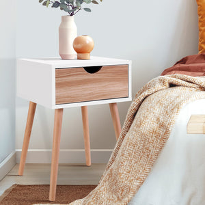 Bedside Tables Drawers Side Table Storage Cabinet Nightstand Solid Wood Legs Bedroom White