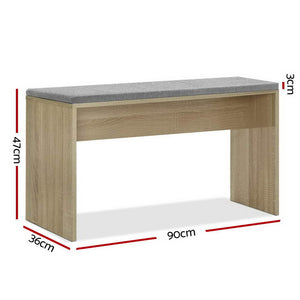 Dining Bench NATU Upholstery Seat Stool Chair Cushion Kitchen Furniture Oak 90cm