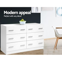 6 Chest of Drawers Cabinet Dresser  Lowboy Storage Bedroom White