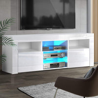 TV Cabinet Entertainment Unit Stand RGB LED Gloss Furniture 160cm White