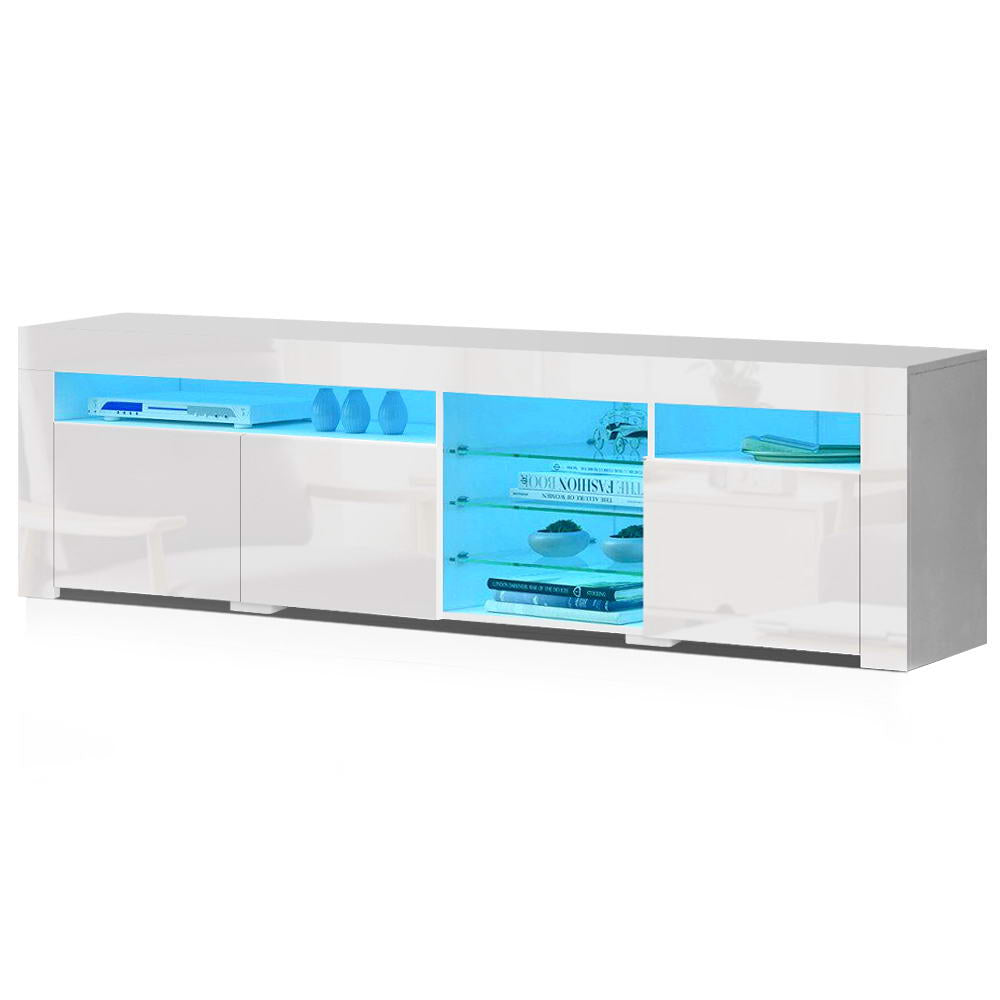 TV Cabinet Entertainment Unit Stand RGB LED Gloss 3 Doors 180cm White