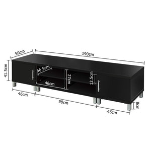 Entertainment Unit with Cabinets - Black