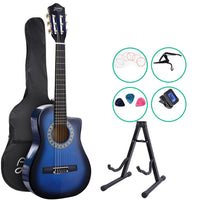 "34"" Inch Guitar Classical Acoustic Cutaway Wooden Ideal Kids Gift Children 1/2 Size Blue with Capo Tuner"
