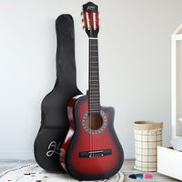 "34"" Inch Guitar Classical Acoustic Cutaway Wooden Ideal Kids Gift Children 1/2 Size Red"