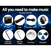 Electric Guitar And AMP Music String Instrument Rock Black Carry Bag Steel String