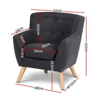 Kids Sofa Armchair Fabric Furniture Lorraine French Couch Children Black