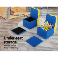 Kids Sofa Armchair Children Table Chair Couch PU Padded Blue Storage Space