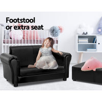 Kids Sofa Armchair Footstool Set Children Lounge Chair Couch Double Black