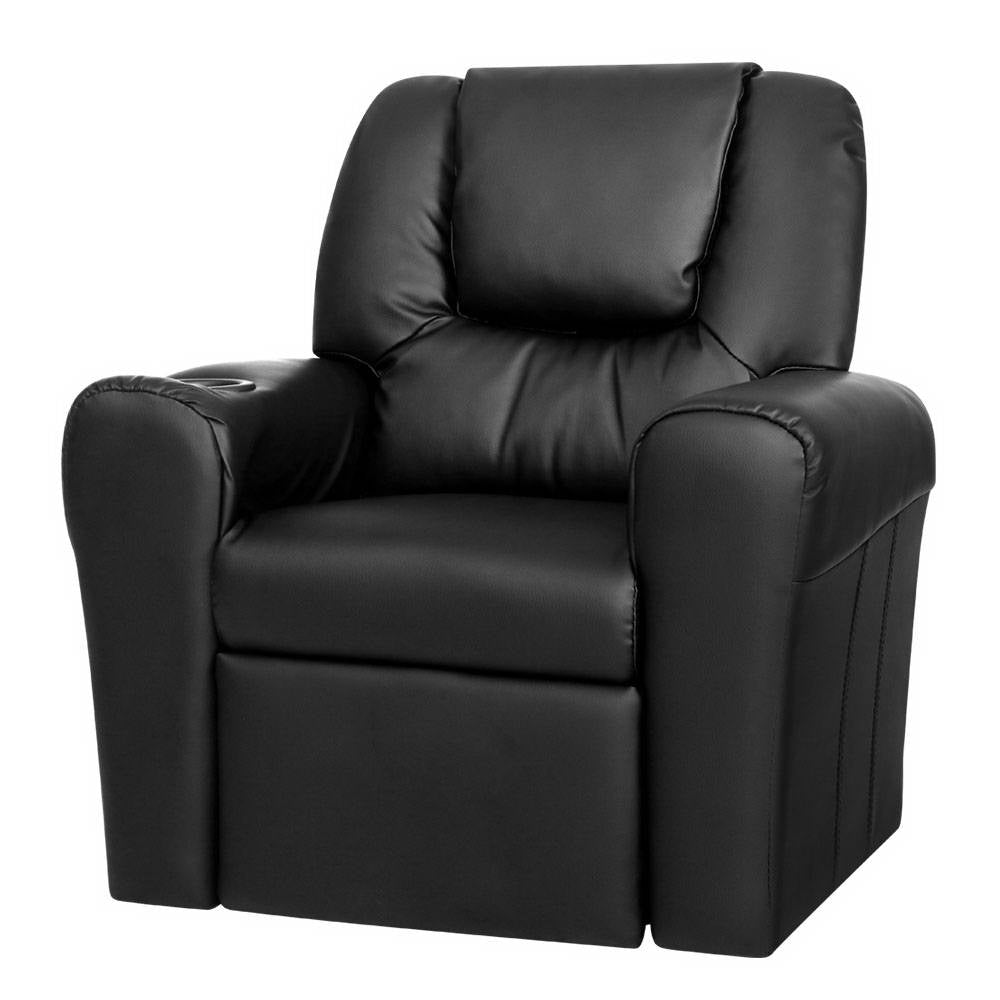 Recliner Sofa Children Lounge Chair PU Couch Armchair Black