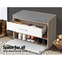 Shoe Cabinet Bench Shoes Storage Organiser Rack Fabric Seat Wooden Cupboard Up to 8 pairs