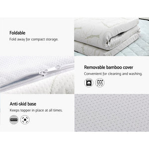Bedding COOL GEL Memory Foam Mattress Topper BAMBOO Cover Double 8CM Mat