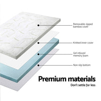 Bedding COOL GEL Memory Foam Mattress Topper BAMBOO Cover Single 8CM Mat