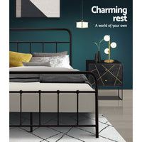 Queen Size Metal Bed Frame - Black