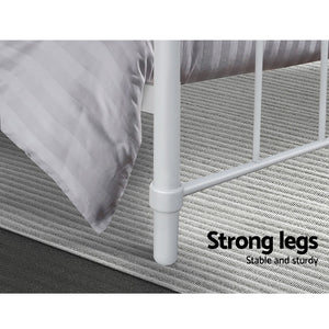 Bed Frame SINGLE Size Metal Bed Mattress Base Platform Foundation White LEO