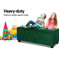 Storage Ottoman Blanket Box Velvet Foot Stool Rest Chest Couch Toy Green